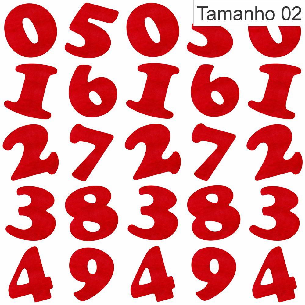 recorte em feltro de números cor vermelho noel tipo delta