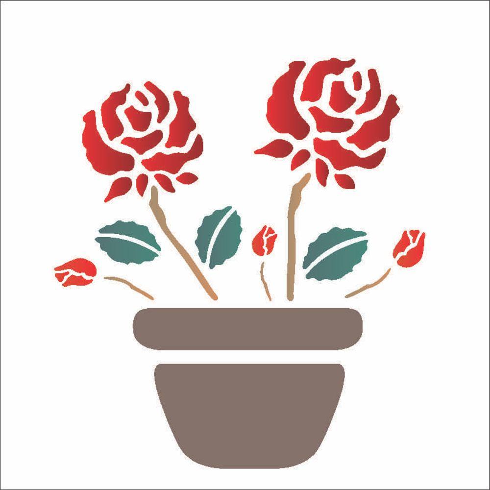 Stencil Para Pintura 14 X 14cm Opa1003 Vaso Com Rosas Opa
