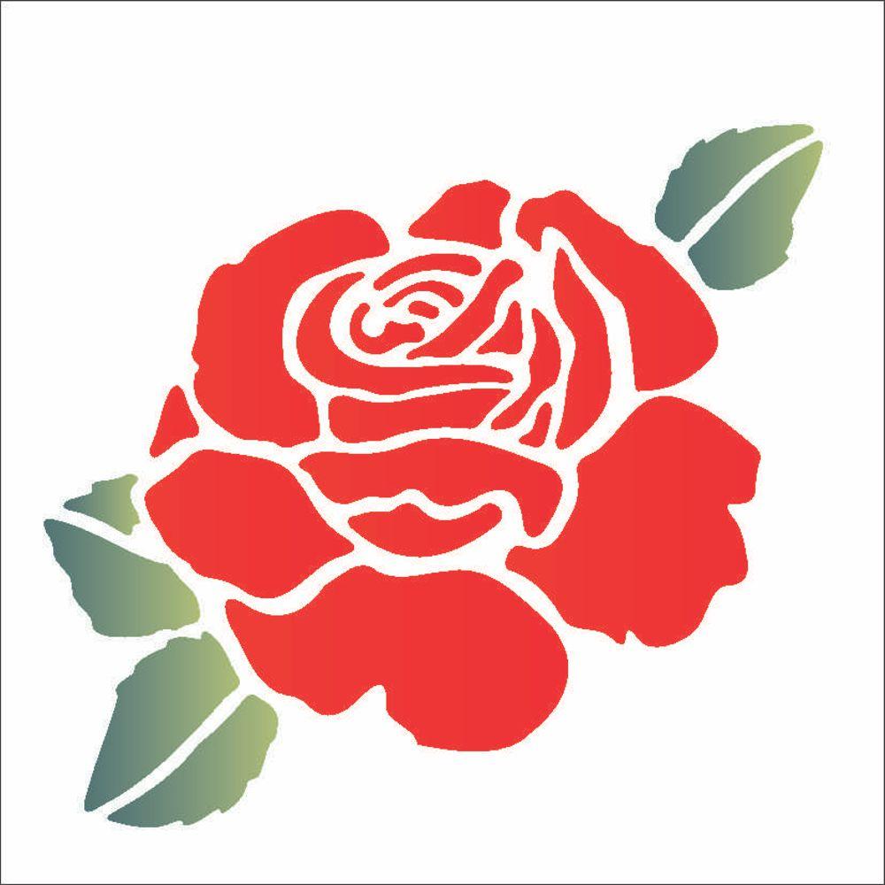 stencil para pintura 14 x 14cm opa1000 flor rosa ii opa