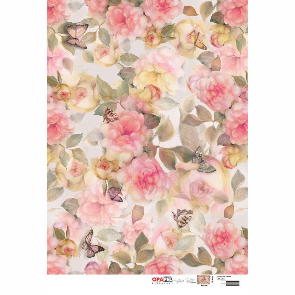papel para decoupage 30 x 45cm opapel 2532 estampa flores
