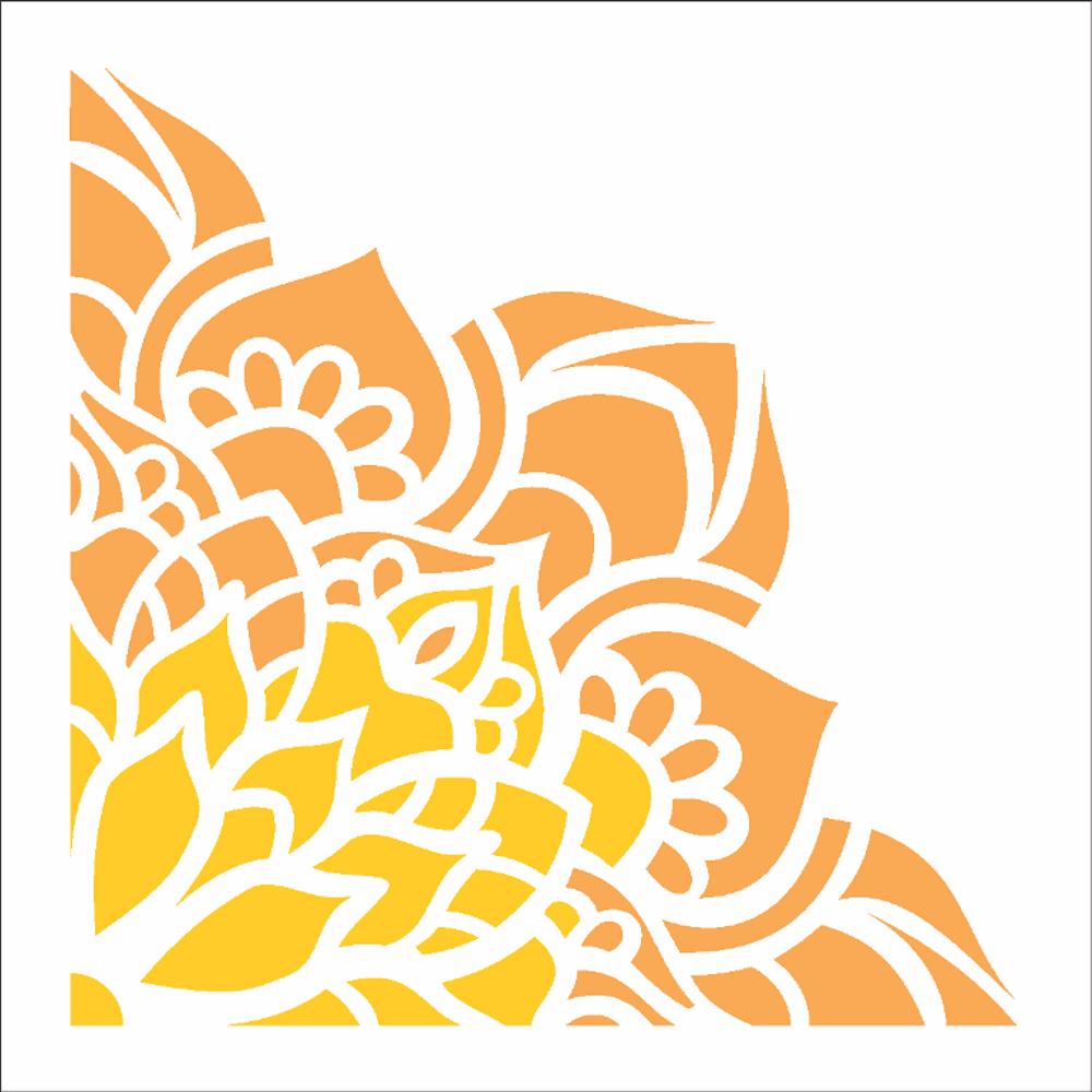 Stencil Para Pintura 10 X 10cm Opa2413 Cantoneira Flor De Lotus