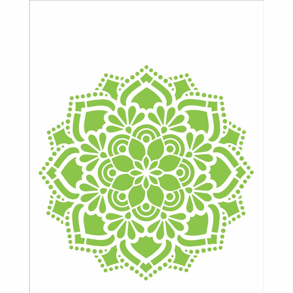 Stencil Para Pintura 20 X 25cm Opa2461 Mandala Flor Renda
