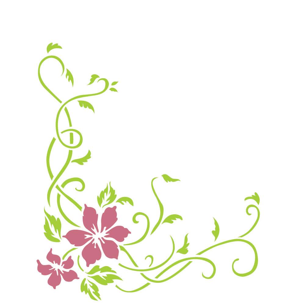 Stencil Para Pintura 20 X 25cm Opa2263 Cantoneira Flores E