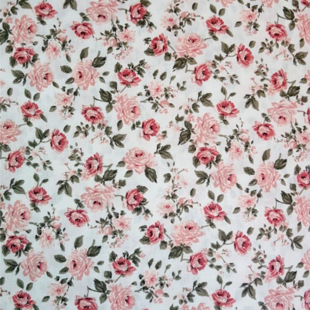 Tecido Com Estampa De Rosas Delicadas Desenho 15277 Cor 13