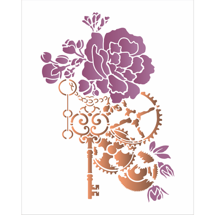 3116---20x25-Simples---SteamPunk-Art-Rosa-e-Engrenagem